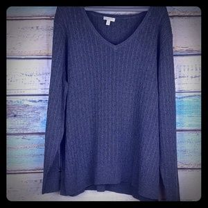 Talbot's gray v neck, cable knit cotton sweater 2x